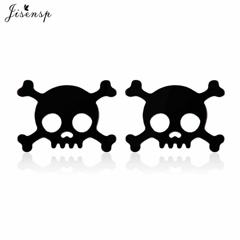 Jisensp Personalized Pirate Skull Earrings Skeleton Stainless Steel Stud Earring for Women Punk Style Jewelry Dropshipping