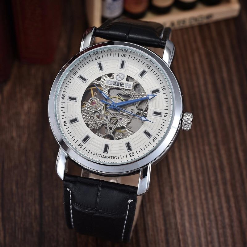 GOER brand Fashion male wrist watch Luminous digital Skeleton leather sports men s watches Machinery automatic