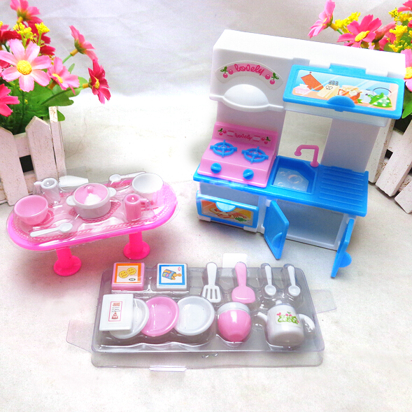 20Pcs/set 3 Colors Fashion Dinner Table Cupboard Sink Kitchenware Set House Toys For Barbie Doll Accessories Random Color fashion house