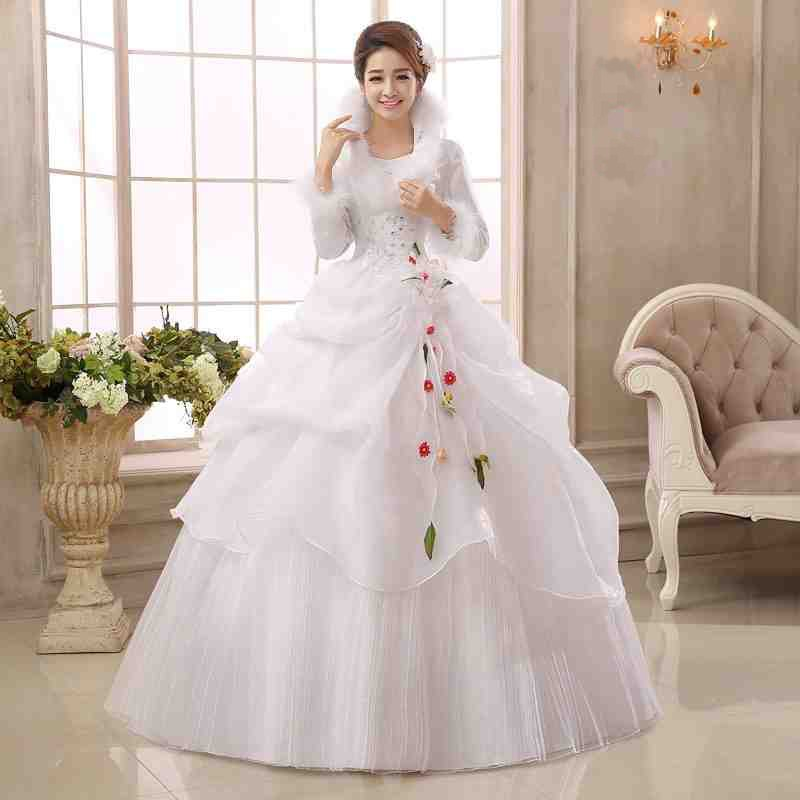 White Organza Long Sleeves Cheap Wedding Dresses 2017 Winter Warm