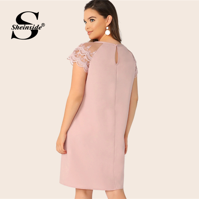 Sheinside Plus Size Casual Layered Contrast Lace Sleeve Dress Women 2019 Summer Pink Straight Dresses Ladies Solid Mini Dress 1