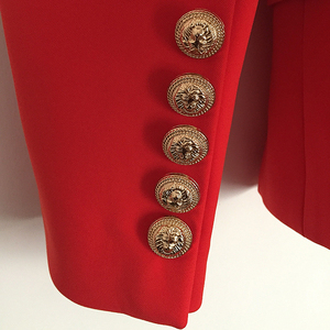 Image 5 - New Fashion 2020 Fall Winter Baroque Designer Blazer Womens Metal Lion Buttons Double Breasted Blazer Jacket Outer Coat Red