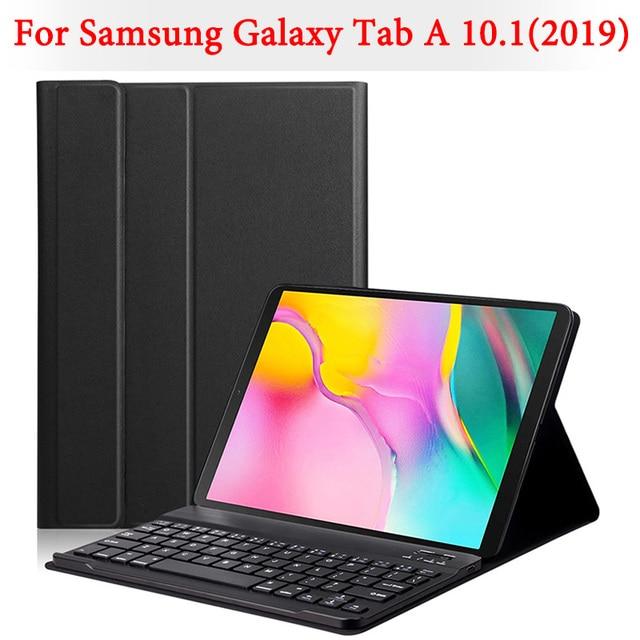 Funda de teclado Bluetooth para Samsung Galaxy Tab A 10,1 pulgadas 2019 tablet SM-T510 SM-T515 desmontable teclado inalámbrico tableta cubierta