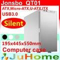 Caja al por menor, regalo libre 12 cm ventilador, Silencioso Chasis de juego, USB3.0, 3.5 ''HDD, fuente de alimentación ATX, Jonsbo QT01, otros V2, V3 +