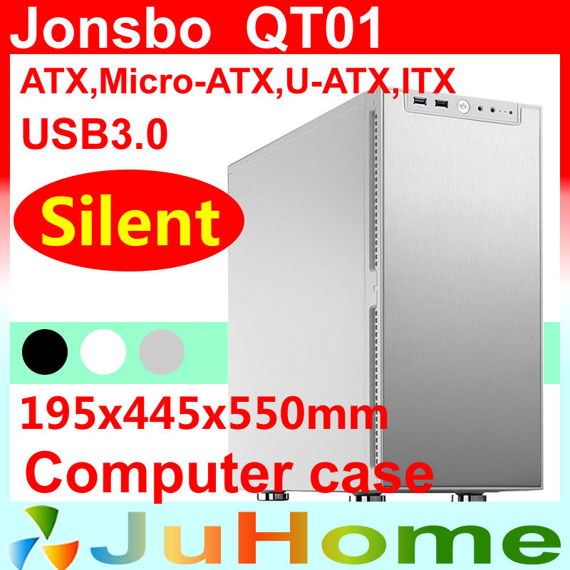 Retail box, free gift 12cm fan,Silent game Chassis, USB3.0, 3.5'' HDD, ATX power supply, Jonsbo QT01, other V2, V3+ jonsbo rm2 aluminum chassis atx small chassis support atx motherboard atx power supply
