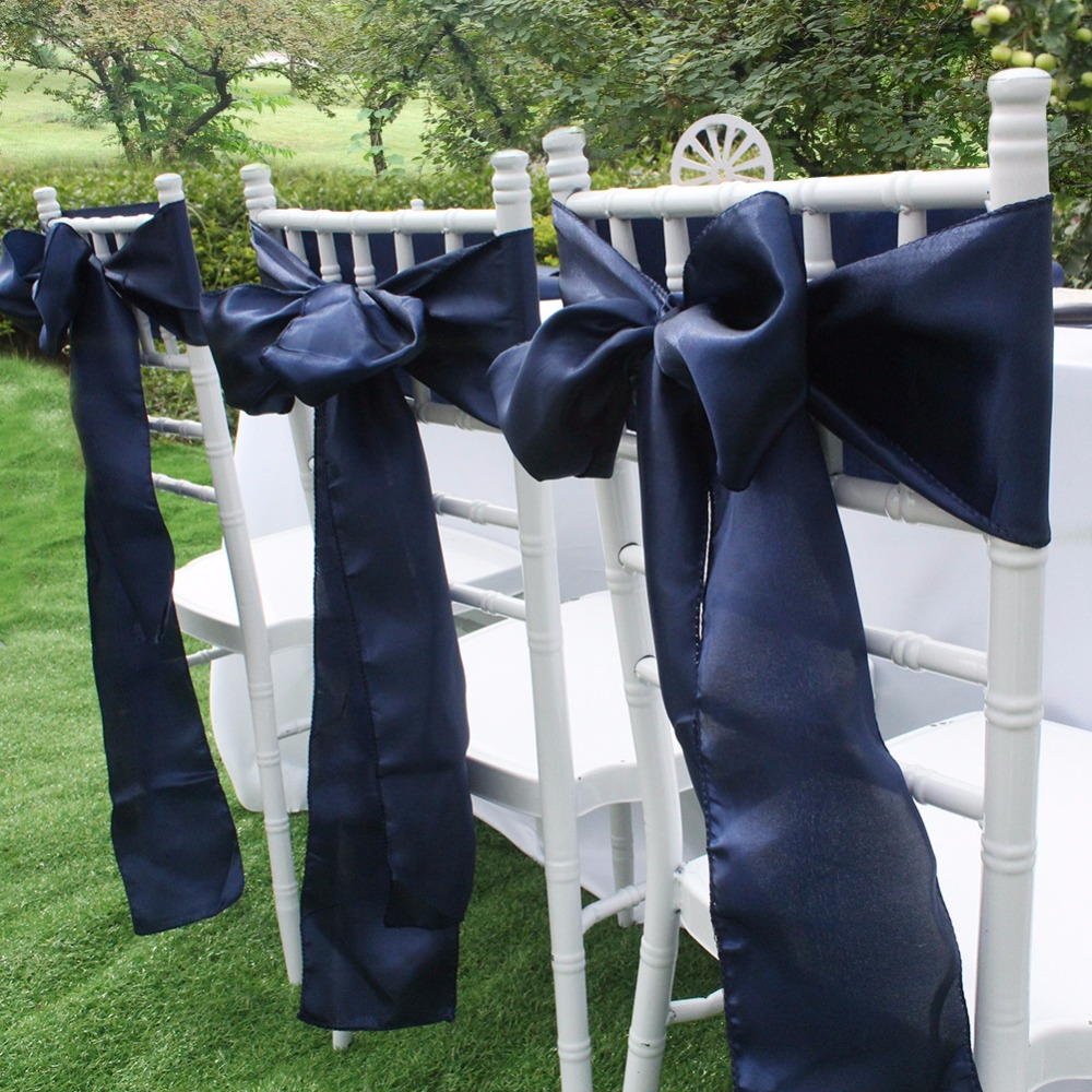 Navy Blue Satin Chair Sashes Europe Chair Cover Sash For Wedding Party Banquet Dining Decoration Home Textiles