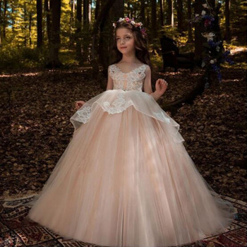 Elegant Ball Gown Lace Flower Girl Dresses For Weddings Trailing First Communion Dress For Girls Evening Prom Gowns