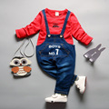NGMZT 2017 New Autumn Baby Girls Clothing Set Children Denim Overalls Jeans Pants + Blouse Full Sleeve Kids Clothes