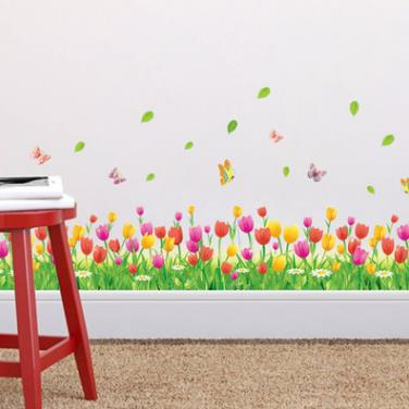 flower green grass butterfly baseboard Wall Stickers-Free Shipping For Kitchen Bathroom Stickers Butterfly Wall Stickers For Bedroom For Kids Rooms Living Room