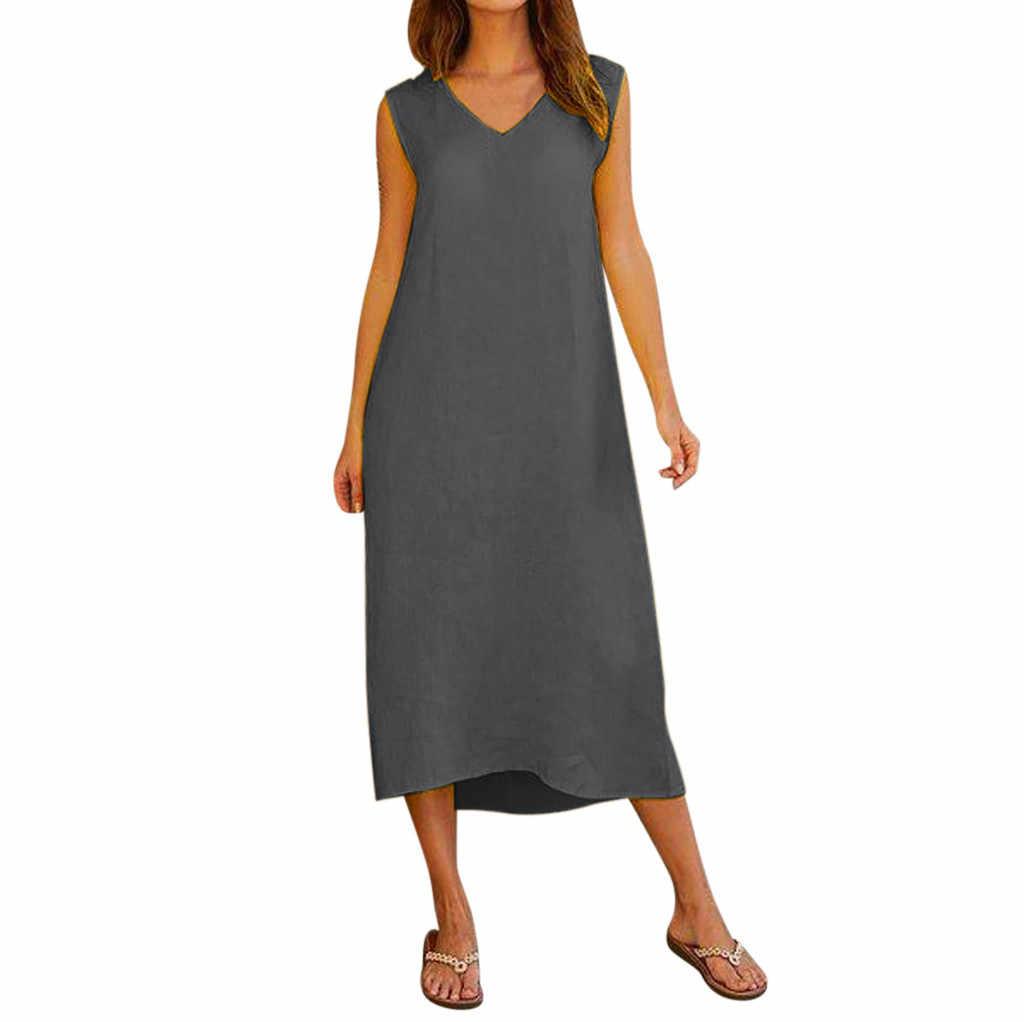 Vestido coreano longo sem mangas decote em v, para o verão 2020, de algodão, casual, longo, plus size, vintage #38