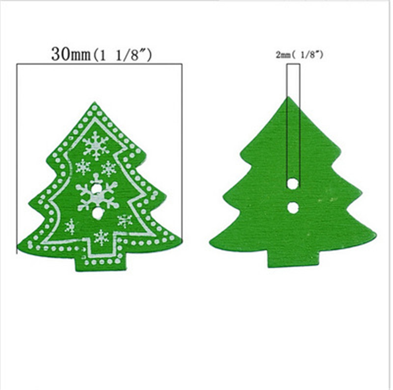 new wood sewing button scrapbooking christmas tree green 2 holes snowflake pattern 32cm1 28x 30cm1 185 pcs