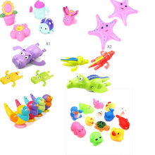 9styles Mixed Animals Swimming Water Toys Colorful Soft Floating Rubber Duck Squeeze Sound Squeaky Bathing Toy For Baby Bath Toy(China)