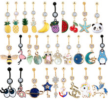 1PC Rhinestone Gold Belly botton ring Navel Piercing 14G Dangle Belly Button Ring Surgical Stainless Steel Fashion Accessories(China)