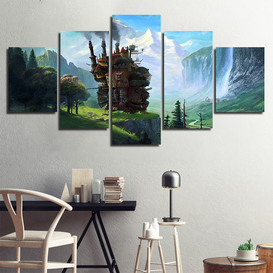 5 Pieces Howl's Moving Castle Miyazaki Hayao Movie Anime Poster Canvas Wall Art Prints Home Decoration Painting Decor Pictures image
