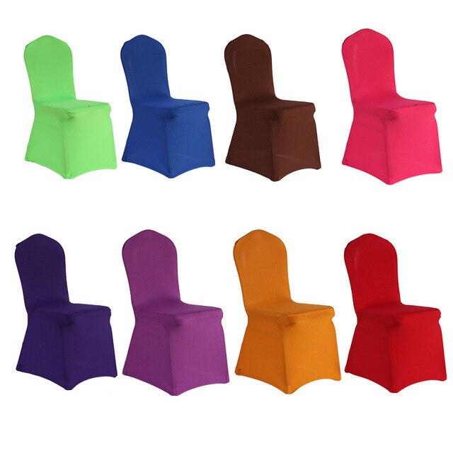 100 шт/партия оптовая продажа многоцветные универсальные чехлы на кресла стрейч спандекс эластичные лайкра отель вечерние стул для свадебного банкета чехлы