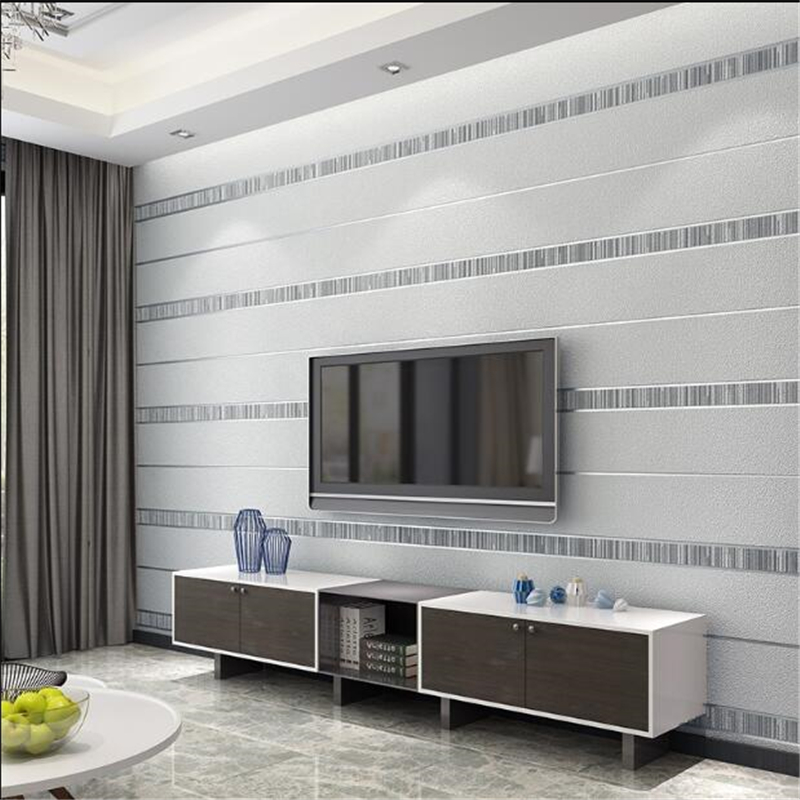 Beibehang Modern 3D vertical stripes non-woven wallpaper bedroom dining room living room sofa TV background 3d wall paper mural modern linen wall paper designs beige non woven 3d textured wallpaper plain solid color wall paper for living room bedroom decor