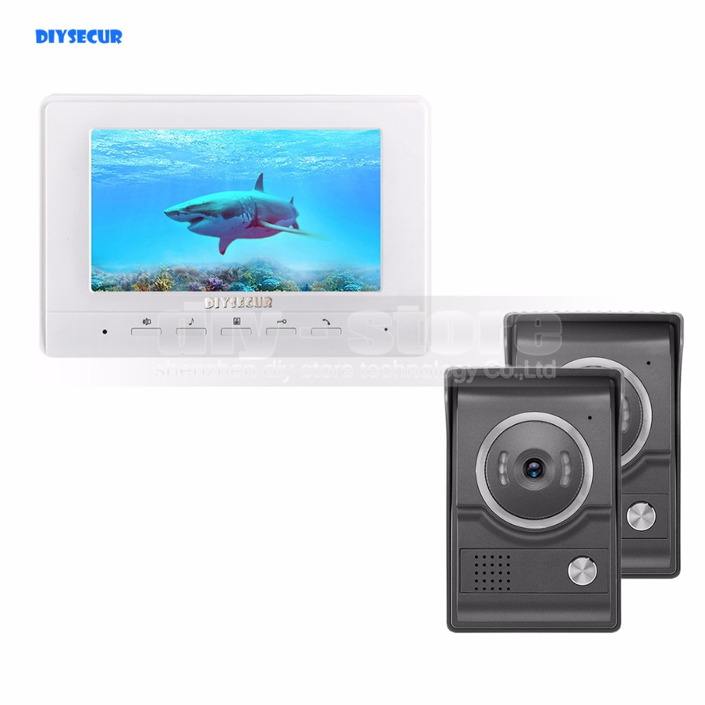 DIYSECUR 7inch Video Intercom Video Door Phone 700TV Line IR Night Vision HD Camera For Home Office Factory White 2V1