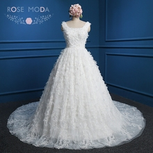 Rose Moda Vintage Lace Ball Gown V Back 3D Flower Wedding Dress with Royal Train Arabic Wedding Dresses Real Photos