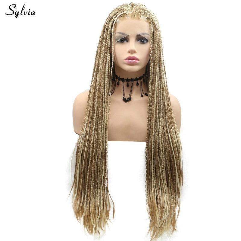 Sylvia tressé boîte tresses perruque Pastel Blonde/rose/marron surbrillance Blonde dentelle avant perruques pour femmes haute température synthétique perruque