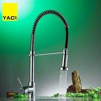 YACI pull style смеситель для кухни с горячей и холодной водой, с одной ручкой, с одним отверстием, современный стиль, хромированный кран 360, поворот