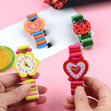 Random Color 3pcs Fashion Cartoon Wooden Watch Sports Brand Bracelet Wrist For Children Hot Sale Baby Gift Student
