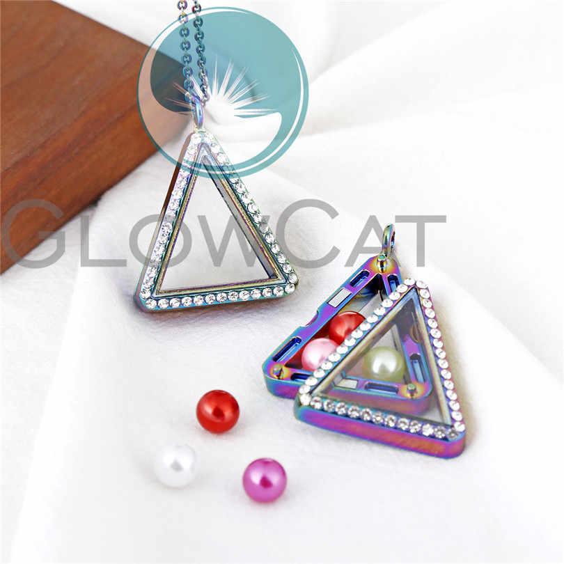 4 สีสามเหลี่ยม Floating Locket สร้อยคอแก้วคริสตัล Charms Living Memory Locket จี้โซ่สร้อยคอ