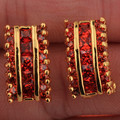 Enchanting Cube Gems Red Garnet Gold Plated For Women's Party Screw Back (pierced) Studs Earrings T0862