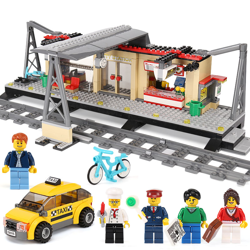 IN STOCK Lepin 02015 City Trains Series 60050 Train Station with Rail track Taxi 456Pcs Building Block Set Kids Model Brick Toy onshine 70pcs train toy model cars wooden building slot track rail transit parking garage toy vehicles kids gifts