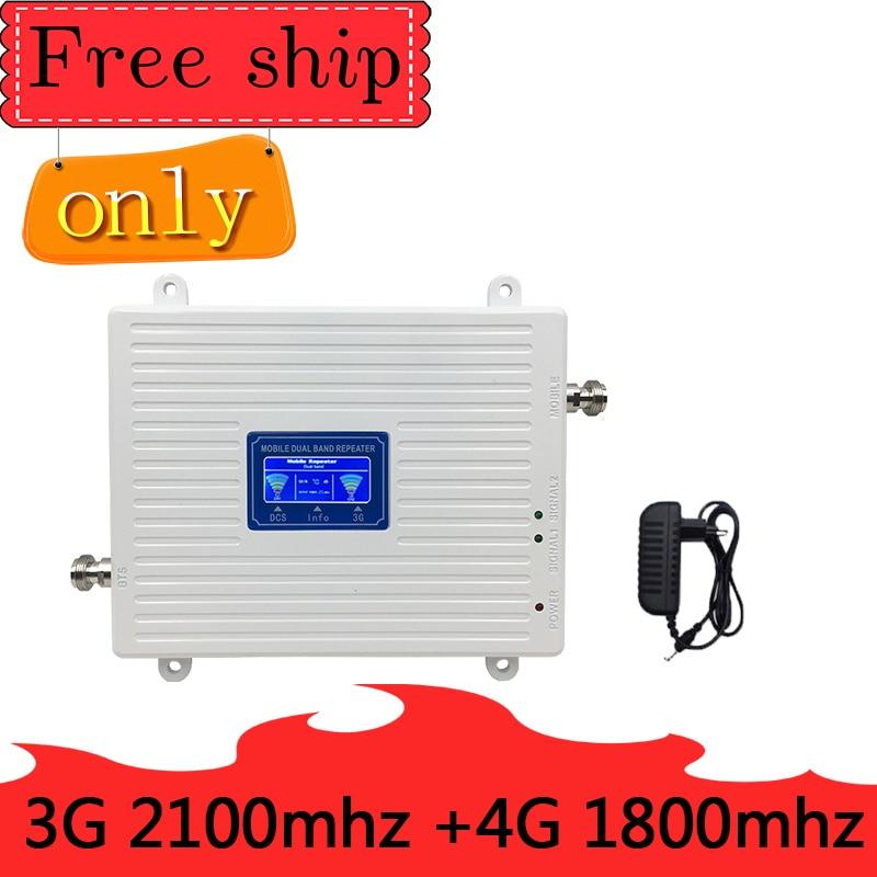 WCDMA 2100 LTE 1800G 4 3 TFX-BOOSTE G Dual Band Sinal de Celular Repetidor 23dBm 70dB 4G LTE Celular amplificador de potência 3G 4G Antena