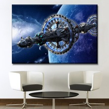 New Product Painting 1 Panel High Quality Canvas Print Space Starship And Star Picture Modern Wall Art Home Decorative Framework