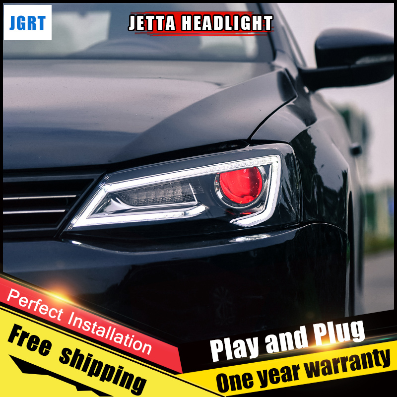 2PCS Car Style LED headlights for VW Jetta 2012-2017 for Jetta head lamp LED DRL Lens Double Beam H7 HID Xenon bi xenon lens hireno headlamp for 2010 2012 kia sorento headlight assembly led drl angel lens double beam hid xenon 2pcs