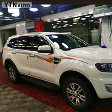 custom car decals accessories modified 2 PC racing side door waist line skirt stickers for ford everest SUV 2013-2019