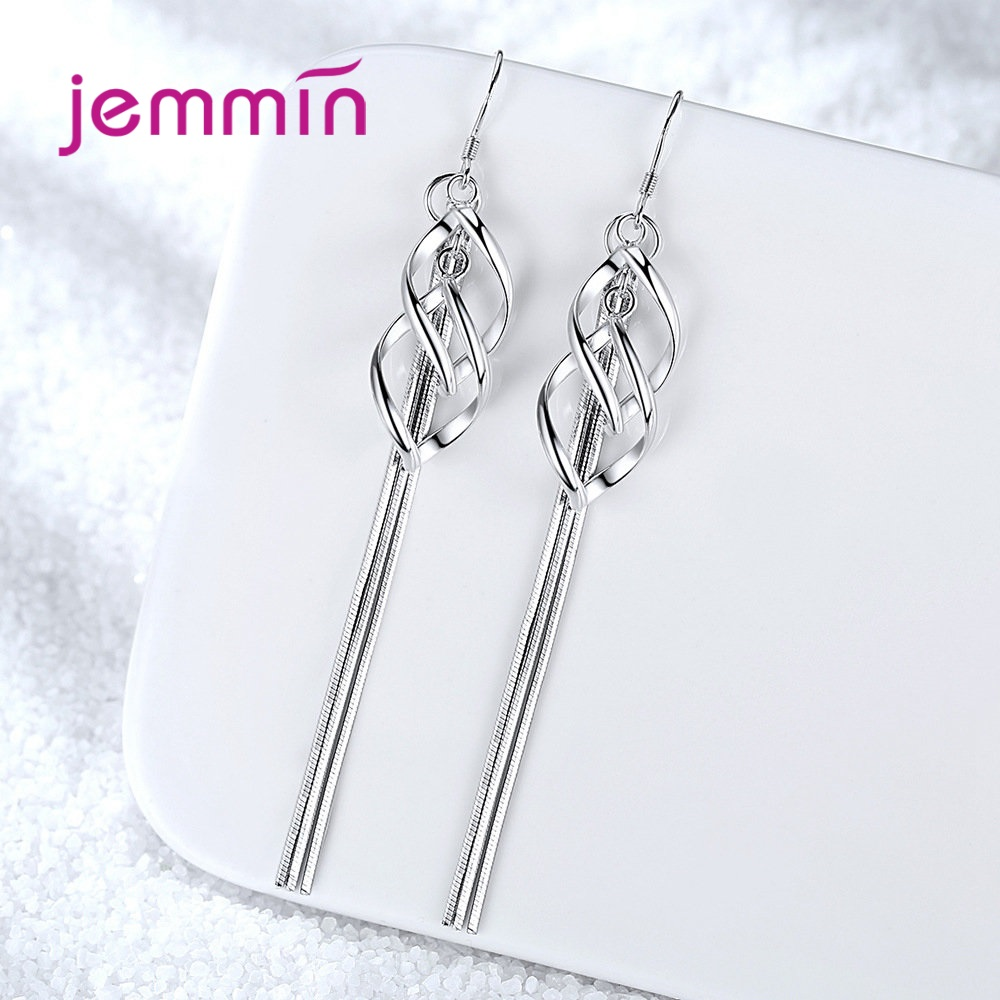 Fashion Tassel Long Style Earrings for Women 925 Sterling Silver Wave Dangle Jewelry High Quality Statement Wedding Bijoux