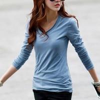 Autumn Winter Basic V Neck T Shirt Big Size Long Sleeve T Shirt Women Solid Color