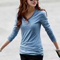 Autumn winter basic v-neck t-shirt big size long sleeve t shirt women solid color plus size cotton tee shirts women's tshirt