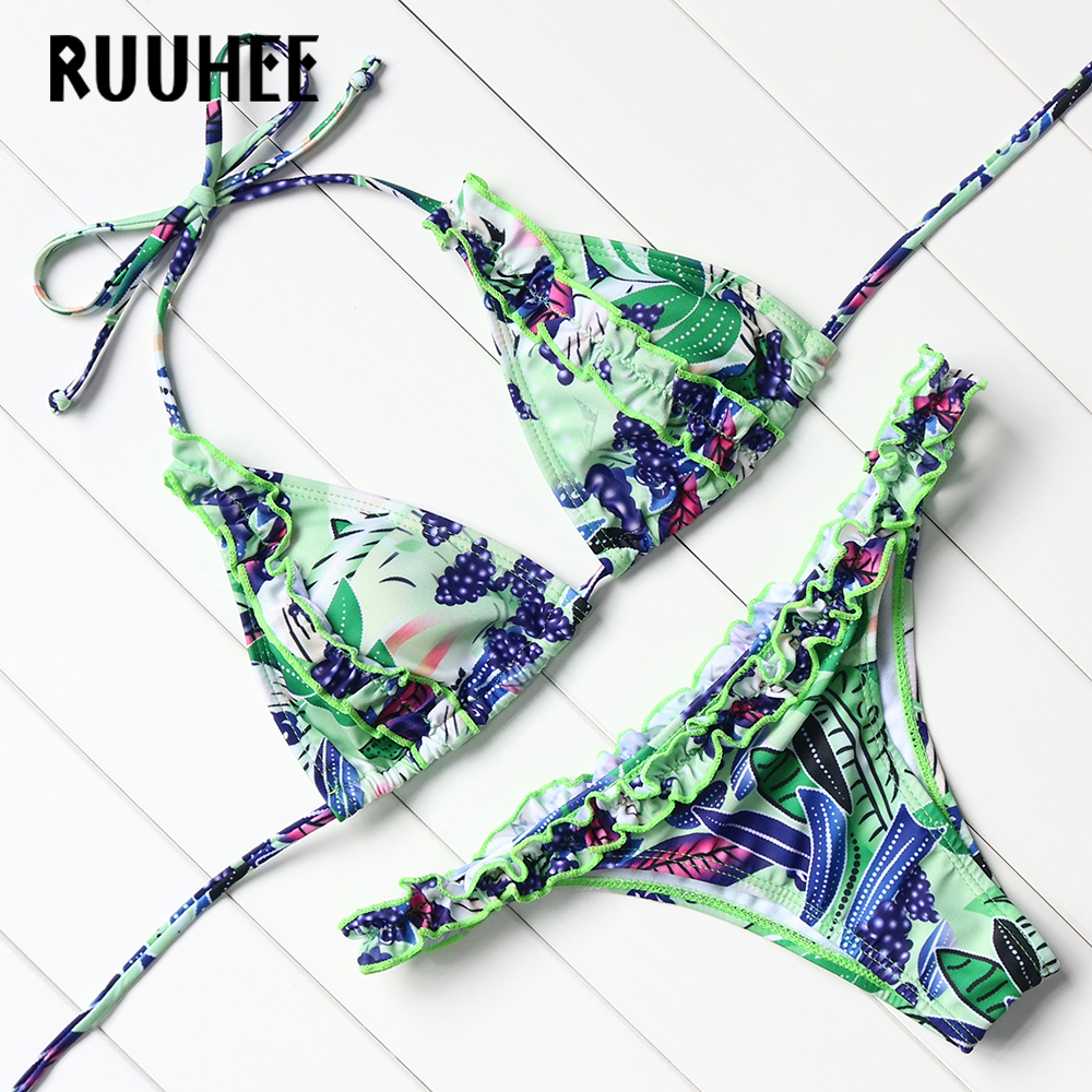 RUUHEE 2017 Sexy Bikinis Women Swimsuit Bandage Halter Beach Wear Bathing Suits Push Up Swimwear Female Brazilian Bikini Set bikinis 2017 sexy swimsuit female bandage swimwear women brazilian bikini set halter retro beach bathing suits swim wear biquini