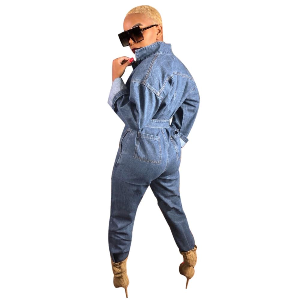 Denim Seule Hiphop D'une Automne Longues De Printemps Pièce Ciel À Bouton Manches 2018 Outillage Bleu Femmes pu Et Body Salopette Travail naEX0wqBx