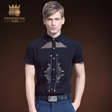 c7f2f191e86 FANZHUAN Featured Brands Clothing Fashion Men Shirt Short Sleeve Slim Fit  Print Shirt Camisa Masculina Personality Hollow Shirts