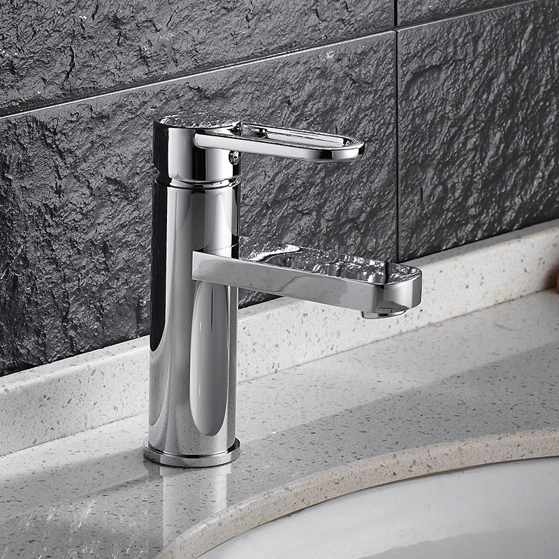 Free Shipping Luxury basin faucet high quality brief water tap chrome single lever hot and cold bathroom basin sink mixer micoe hot and cold water basin faucet mixer single handle single hole modern style chrome tap square multi function m hc203