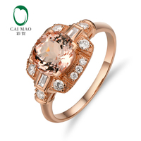 Gratis verzending 2.35ct VS 8mm Ronde Morganite Pave Diamond Real 14 k Rose Gold Engagement Ring