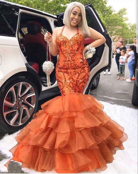 Orange Plus Size Mermaid Prom Dresses Halter Lace Appliques With Beaded Crystals Tiered Formal Evening Special Occasion Dresses