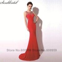 Элегантные красные Sexy Sheer Кристалл Русалка Для женщин выпускного платья Мода Line поезд Вечеринка платья Реальное изображение TZ017