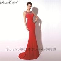 Elegancki Czerwony Sexy Sheer Kryształ Mermaid Prom Dresses 2017 Kobiet Moda Linii Pociąg Wieczorne Party Suknie Prawdziwe Zdjęcia TZ017