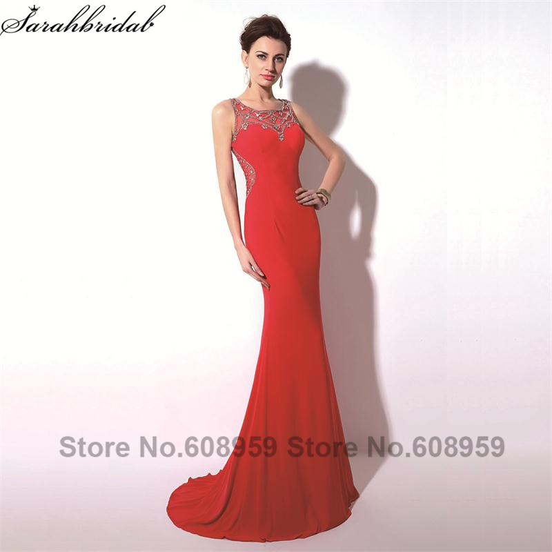 Elegant Red Sexy Sheer Crystal Mermaid Women   Prom     Dresses   Fashion A-line Train Evening Party Gowns Real Picture TZ017