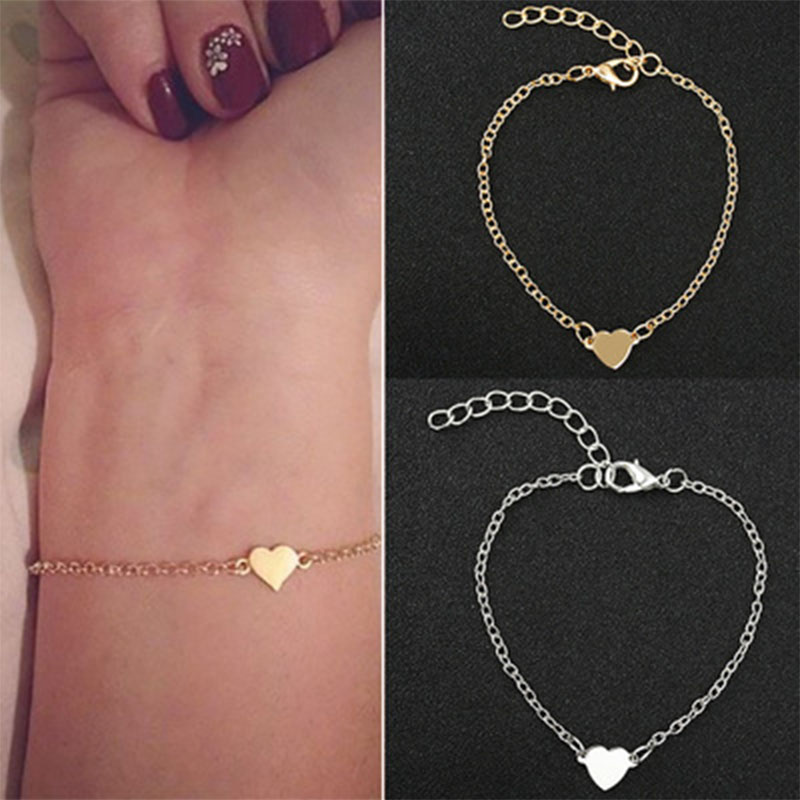 Handmade Simple Gold Heart Bracelet Charming Bracelets Bangles for Women Accessories Jewelry Simple Cuff Jewelry Girl Gift WD138 in Chain Link Bracelets from Jewelry Accessories