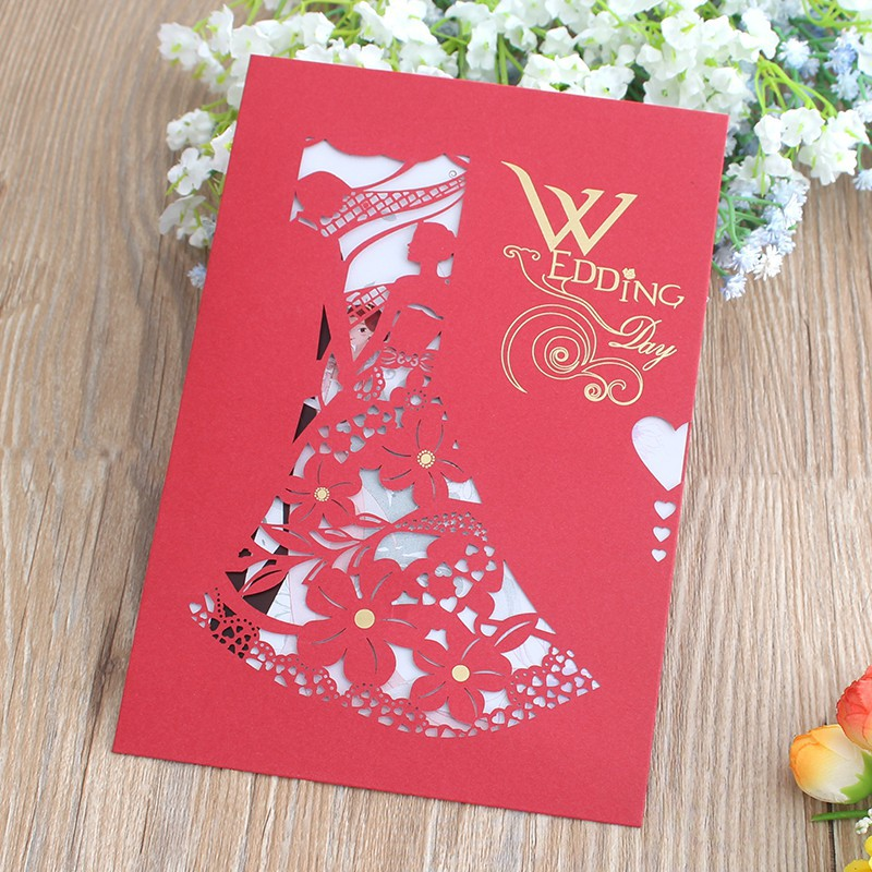 Vintage Chinese Style Red Wedding Invitation Card Hallow Out Original Bride And Groom Invitations Cards Marriage Supplies