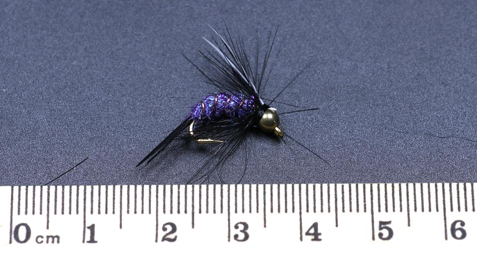 5PCS//Set #12 Purple Prince Nymph Brass Golden head Trout Grayling Fishing Flies