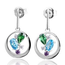 DORMITH free shipping 925 sterling silver earrings 1.5 carct AAA cubic zirconia for women fashion Multicolor drop
