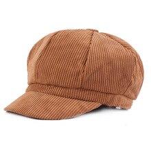Fashion Hats for Women Corduroy Newsboy Cap Solid Autumn Winter Female Beret Octagonal Casquette Ladies