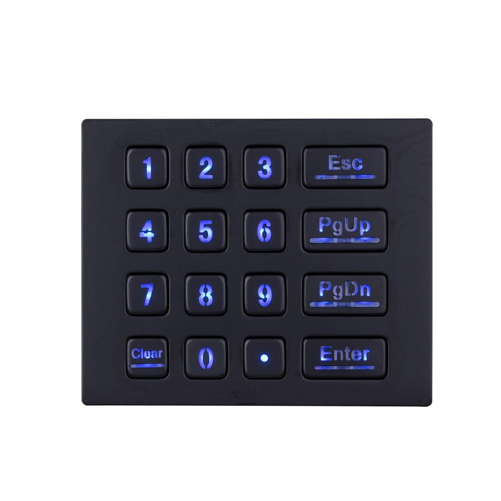 цена на Black Metal Backlit keyboards with16 keys LED Backlighted Keypad Numeric Backlit Keypads